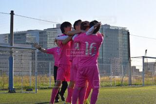 空,ピンク,人物,サッカー,横浜,運動,決勝点,歓喜の瞬間