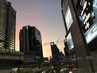 空,夕日,街並み,駅,夕方,タイ,バンコク