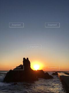 風景,夕日,夕焼け,シルエット,銚子,千葉,犬岩