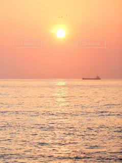 自然,風景,海,空,鳥,屋外,太陽,朝日,晴れ,船,水面,海岸,夜明け,光,日の出,レジャー,快晴