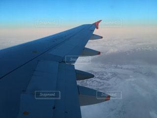 自然,空,夕日,雲,夕焼け,飛行機