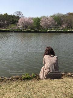 女性,自然,空,桜,後ろ姿,川,人物,座る,後ろ