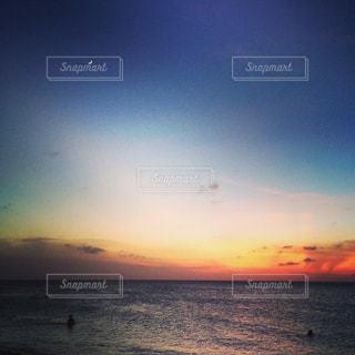 海,空,夏,夕日,月,カリブ海,セントマーチン