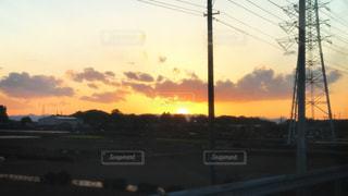 風景,空,夕日,屋外,夕焼け,景色