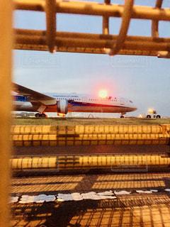 風景,空,夕日,夕焼け,飛行機,素敵