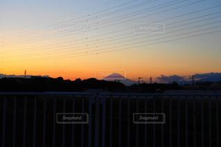 空,夕日,富士山,雲