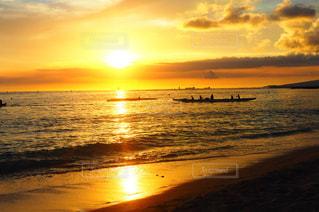 海,空,夕日,ビーチ,雲,カヌー,反射,オレンジ,ハワイ,新婚旅行