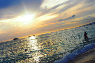 自然,風景,海,空,夕日,ビーチ,雲,波,反射,ハワイ,新婚旅行