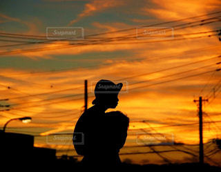 風景,空,太陽,雲,夕暮れ,オレンジ