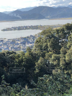 空,景色,樹木,琵琶湖,近江,安土城