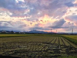 空,雲,夕焼け,田舎,鉄塔,シルエット,家,田んぼ,黄昏,カメラ好き