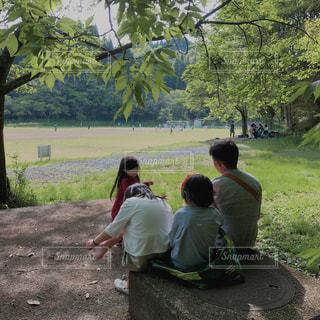 家族,自然,後ろ姿,景色,子供,木々,野外,グラウンド,複数