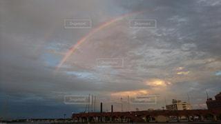 海,空,夕焼け,夕暮れ,虹,オレンジ