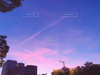 自然,空,夕日,京都,雲,綺麗,飛行機雲