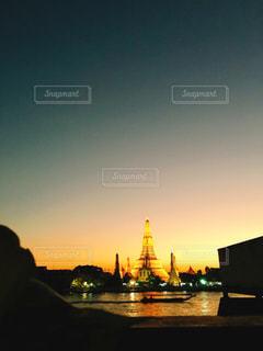 夕日,タイ,バンコク,ワットアルン