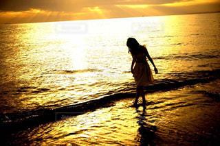 自然,海,空,ビーチ,夕暮れ,水面,海岸