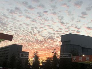 空,秋,夕日,大阪,雲,夕焼け,うろこ雲,秋空,鱗雲