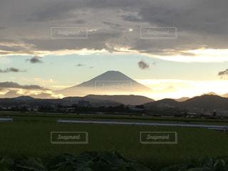空,夕日,富士山,屋外,雲,綺麗,夕焼け,夕方,サンセット,西の空