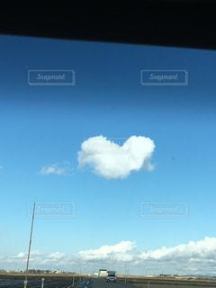 空,雲,青空,道路,景色,ハート,ドライブ,助手席