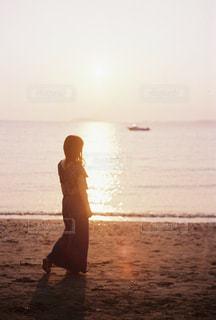 風景,海,空,夕日,船,写真,友達