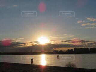 自然,空,屋外,太陽,朝日,水面,正月,お正月,日の出,新年,初日の出