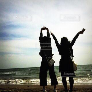 海,景色,鎌倉,女子中学生