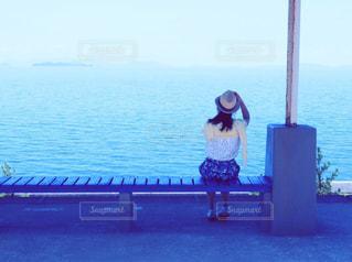 下灘駅にて待ちぼうけの写真・画像素材[1313349]