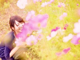 女性,自然,花,秋,かわいい,コスモス,笑顔,コスモス畑