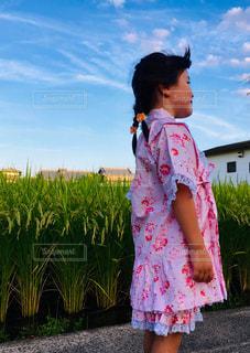 夏,ピンク,かわいい,女の子,浴衣,田んぼ,三つ編み,稲,手作り,半袖