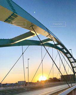 空,冬,橋,太陽,朝日,道路,景色,光,朝,札幌市,水穂大橋