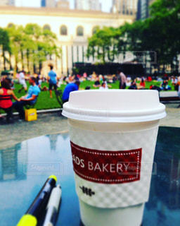 公園,ニューヨーク,コーヒー,テスト,カップ,資格,勉強,マンハッタン,ブライアントパーク,資格受験
