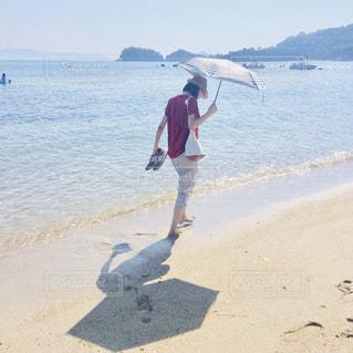 自然,海,空,夏,屋外,砂,ビーチ,砂浜,裸足,水面,海岸,日傘,快晴,日中,熱中症対策,暑さ対策