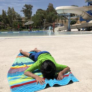 プール,暑い,タオル,リゾート,青い,カリフォルニア,疲れた