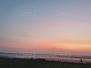 海,空,夕日,屋外,夕暮れ,水面