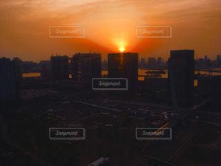 空,夕日,東京,高層ビル