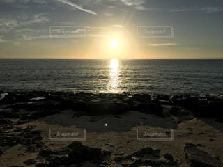 自然,海,空,太陽,ビーチ,砂浜,夕暮れ,水面,海岸