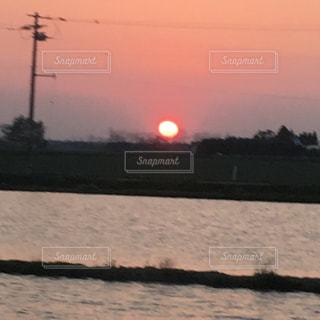 風景,空,太陽,夕暮れ,水面