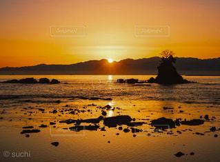 風景,海,空,太陽,海岸,光,日の出,雨晴海岸