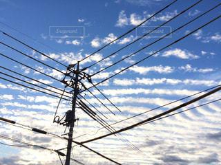 風景,空,秋,雲,電柱,電線,電信柱,秋空,うね雲