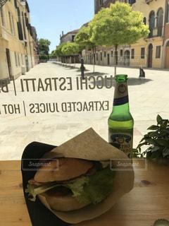 カフェ,晴天,イタリア,ヴェネチア,散歩道,ベニス,パンとビール