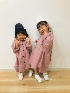 ピンクチェックのシャツワンピ♡の写真・画像素材[1634506]