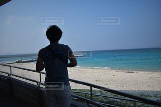 海,夏,晴れ,沖縄,男,旅行,旅,ブルー,昼,離島,水納島
