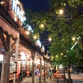 夜の街通りの人々の集行の写真・画像素材[2727635]