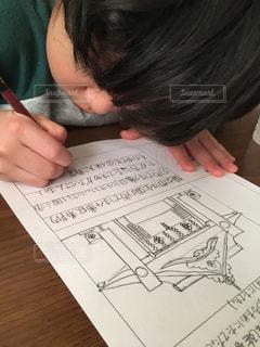 宿題も手を抜きません!の写真・画像素材[1725764]