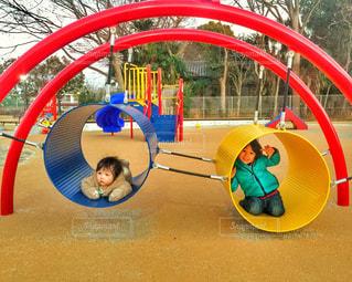 公園,子供,ベビー,ツーショット