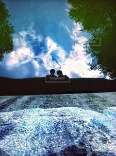 空,公園,湖,男女,ツーショット