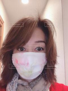 手作りマスク付けてみましたの写真・画像素材[3284749]