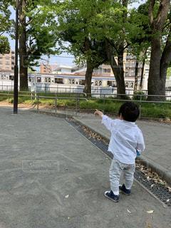 子ども,空,公園,電車,後ろ姿