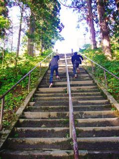 階段を駆け上がる2人の写真・画像素材[1586606]