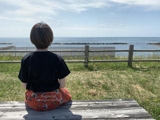 風景,海,空,屋外,後ろ姿,人物,外,人,後姿